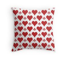 Red Hearts and Fleur de Lis Pattern Throw Pillow