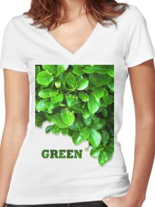 Green Women's Fitted V-Neck T-Shirt