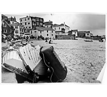 Low tide at St Ives (monochrome) Poster