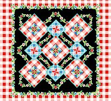 Cottage Chic Gingham on black by PatriciaSheaArt
