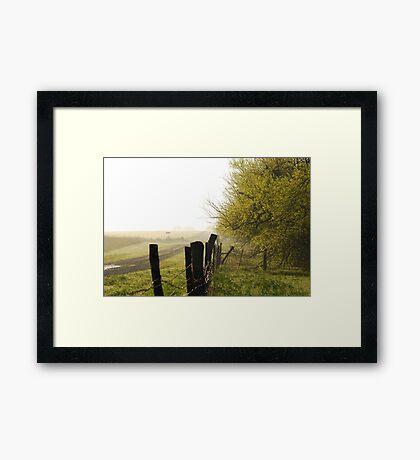 Misty Country Morning in Kansas Framed Print