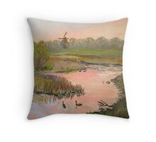 Windmill on the Waterfront Throw Pillow