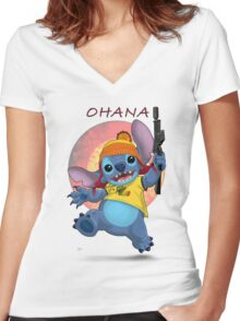 Ohana: Firefly/Stitch Mashup Women's Fitted V-Neck T-Shirt