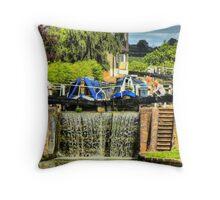 Working Down The Locks - Stoke Bruerne Throw Pillow