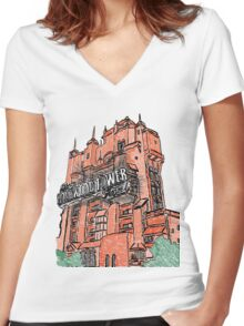 Hollywood Tower!  Women's Fitted V-Neck T-Shirt