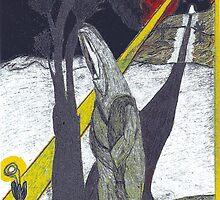 Priest walking toward an Enlightened flower (Black Sky) by BlackDogAura