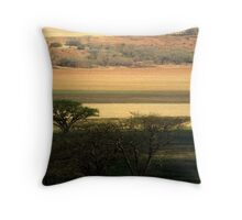 Ploughed fields and camel-thorn trees Throw Pillow