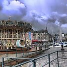 Honfleur Harbourside ( 5 ) Shades of Something Wicked This Way Comes. by Larry Lingard-Davis