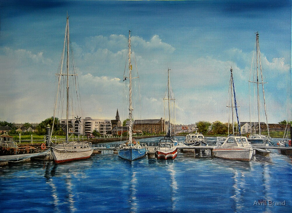 """""""View of Kilrush from the Marina"""" - oil painting by Avril Brand"""