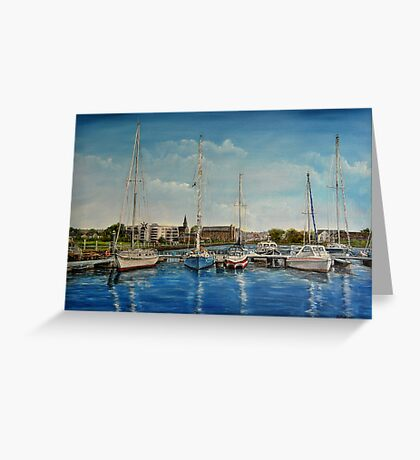 """View of Kilrush from the Marina"" - oil painting Greeting Card"