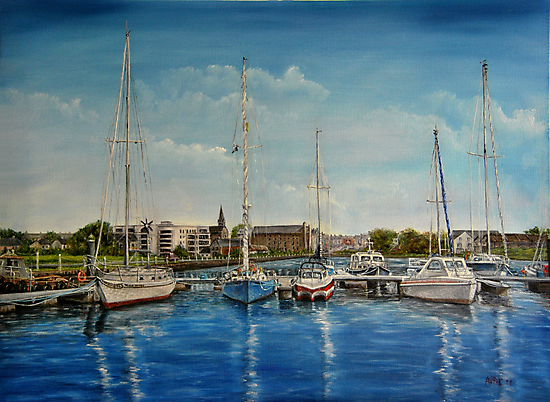 """View of Kilrush from the Marina"" - oil painting by Avril Brand"