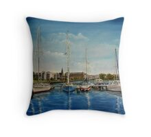 """View of Kilrush from the Marina"" - oil painting Throw Pillow"