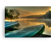 Lakeside Canoes in HDR Canvas Print