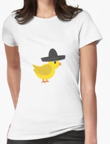 Chick wearing sombrero Womens Fitted T-Shirt