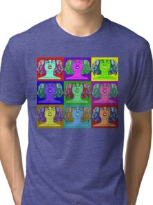 pop-face-with background Tri-blend T-Shirt