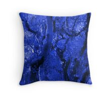 Abstracted Blue Trees, Moss, Branches and Sky Throw Pillow