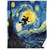 Halloween Flying Young Wizzard with broom Poster