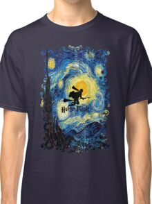 Halloween Flying Young Wizzard with broom Classic T-Shirt