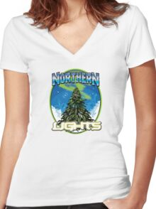 Northren Lights  Women's Fitted V-Neck T-Shirt