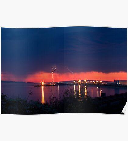 Lightening at Sunset Poster