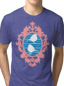 White Birds in Ornate Frame Tri-blend T-Shirt