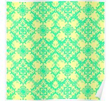 Fancy Yellow and Teal Damask Pattern Poster