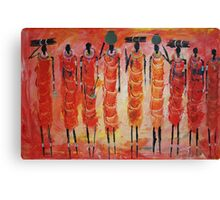 Masai Gathering fire wood Canvas Print