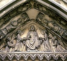 Troyes Cathedral front tympanum Christ and the angels 198405060028 by Fred Mitchell