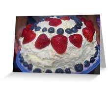 Strawberry Blueberry, Whipped Cream Cake Greeting Card