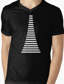 White Lines Mens V-Neck T-Shirt