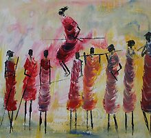 Masai Jumping by Mwenye painter