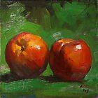 Summer Peaches on Green Cloth by Les Castellanos