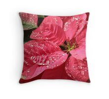 Christmas Poinsettia Flowers in the Morning Throw Pillow
