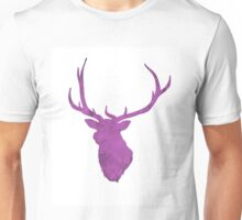 Pink Watercolor Deer Antler Print Unisex T-Shirt