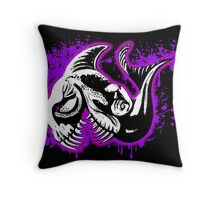 Feisty Fish Purple and Black  Throw Pillow