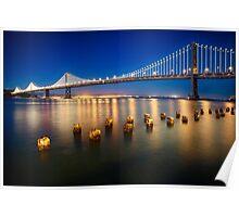 Bay Bridge Night View Poster