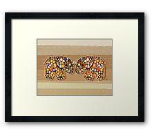 Patchwork Elephants Framed Print