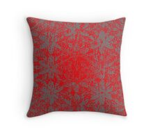 Snowy Red Halftone Flowers Throw Pillow