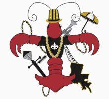 Red Crawfish Fleur de Lis One Piece - Short Sleeve