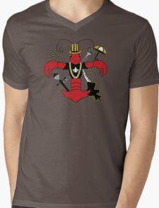 Red Crawfish Fleur de Lis Mens V-Neck T-Shirt