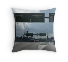 on the road - one car blowing smoke out the back  Throw Pillow