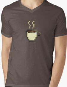 Coffee Cup Pixel Art Mens V-Neck T-Shirt