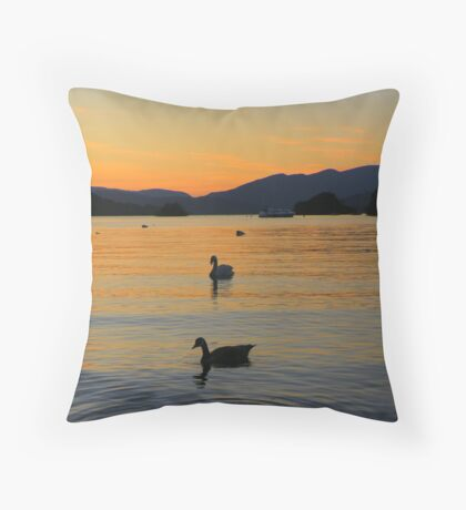 The Lake District: Windermere Silhouettes Throw Pillow