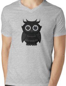 Black Owl - Grey Mens V-Neck T-Shirt