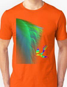 Rainbow bird fly in cliff T-Shirt