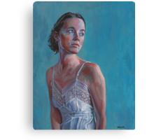 Bianca On Blue Canvas Print