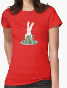 Bunny in a teacup Womens Fitted T-Shirt