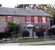 house with red shutters Photographic Print