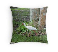 Bird at park Throw Pillow