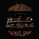 Psychobilly Rat Rod Sticker by Larry Oates